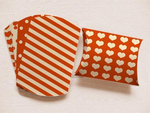 Orange PILLOW BOX Tangerine Tango Packaging Printable Box polka dots DIY Pillow Box Stripes Birthday Gift Box halloween candy bag