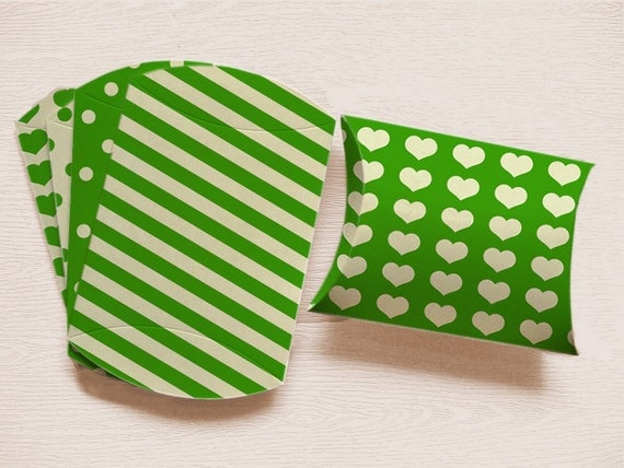 Printable Pillow Box Set Green Packaging DIY St Patricks Day Bag INSTANT DOWNLOAD
