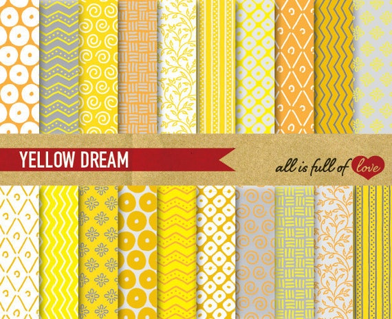 Digital Paper Pack YELLOW GREY Patterns Grey Scrapbook Background patterns yellow grey chevron gift wrapping paper