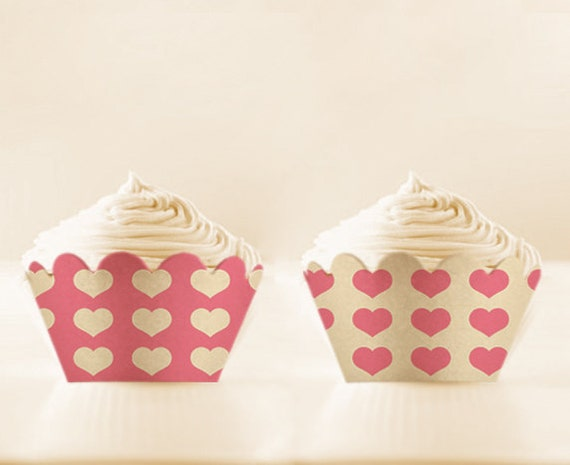 Hearts Cupcake Wrappers to Print Pink Cupcake Holders wedding printables valentines wrappers pink Digital Download