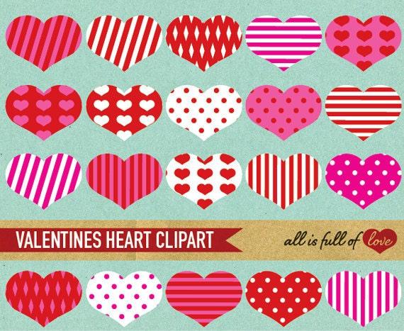 HEART CLIPART Red Pink Heart embellishment Digital Download  scrapbooking clipart valentines DIY digital scrapbooking
