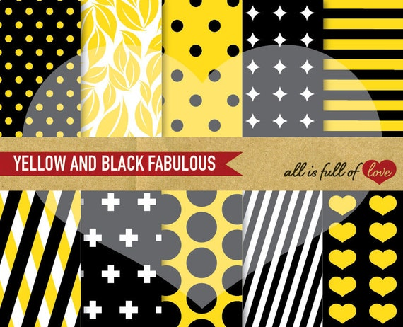 DIGITAL Scrapbooking Paper Pack YELLOW and BLACK Geometric Backgrounds Instant download 12/15