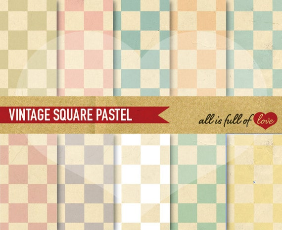 Digital Scrapbook Paper Pack VINTAGE Squares Pastel Printable backgrounds 8.5x11 // A4