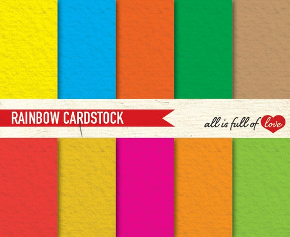 Digital Scrapbooking RAINBOW Paper Pack CARDSTOCK Printable Background solid background texture color block paper 8x11 papers red blue
