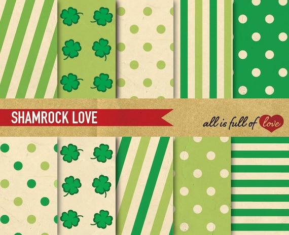 St Paddys Scrapbook patterns St Patricks Day Digital Paper Green Digital Background SHAMROCK Graphics Clover Digital Download Irish Party