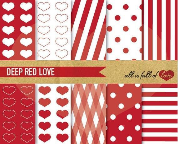 Valentines Paper DIGITAL PAPER Pack RED Printable Background Stripes Dots Digital Download Valentines graphics, Valentine day card