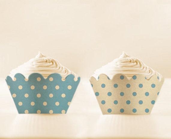 Printable CUPCAKE Wrappers Retro Baby Blue wraps cupcake apron Polka Dot baby shower cupcake holder blue party decor vintage