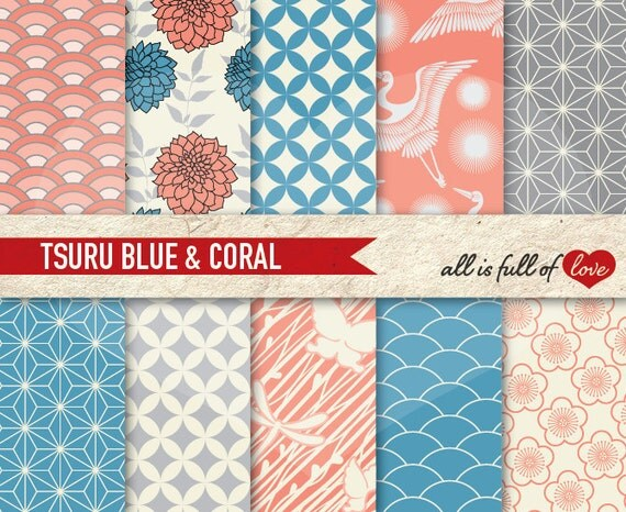 Digital Paper Pack Japanese Tsuru BLUE & CORAL Printable Scrapbook Backgrounds INSTANT Download Valentines Digital Paper