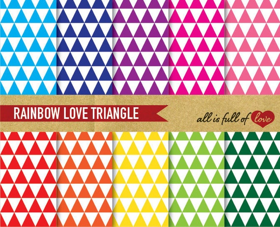 TRIANGLE Patterns Digital Scrapbooking Paper RAINBOW Printable Backgrounds 12/15