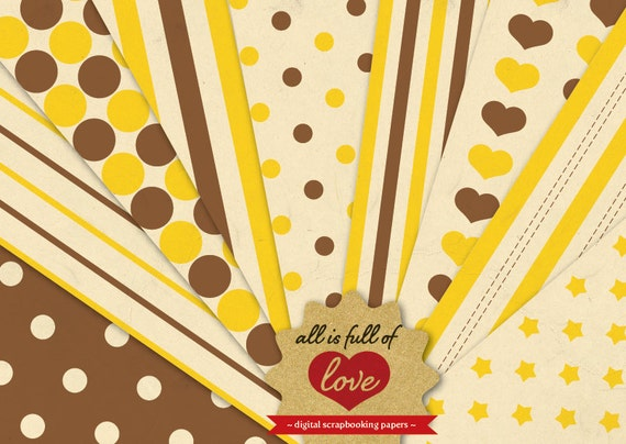 Digital Paper Brown Yellow Scrapbook Patterns HONEY Vintage Sheets Valentines Paper Valentines graphics 12/15