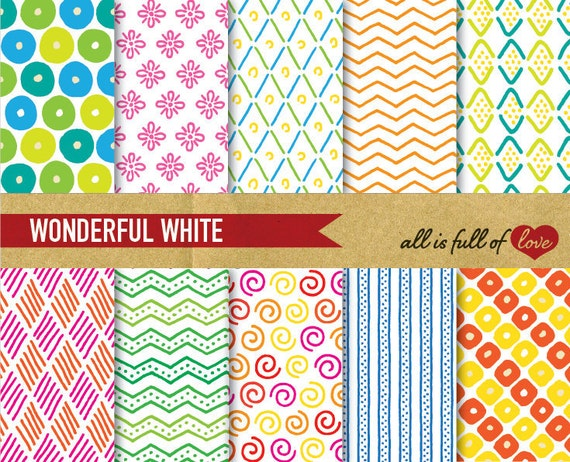 Digital Backgrounds Scrapbooking Paper Pack  HAND DRAWN over WHITE