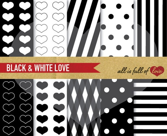 Digital Paper Pack BLACK & WHITE black heart patterns polka dots stripes Scrapbooking Backgrounds Valentine Paper digital background