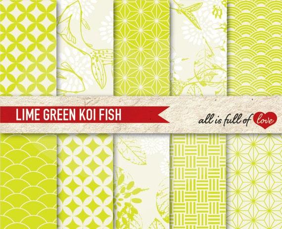 Japanese Digital Scrapbooking GREEN LIME Digital Paper Pack Printable Koi Background Koi Fish