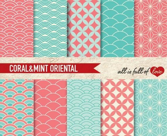 Scrapbooking Digital Paper Pack CORAL & MINT ORIENTAL Japanese Printable Backgrounds Valentines Digital Paper
