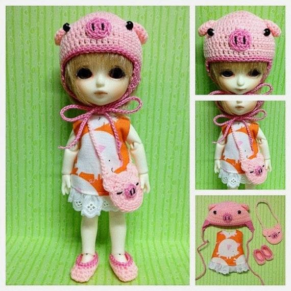 "Lati Yellow / Puki Fee Outfit : ""I Love Pig Set"" (Dress, Crochet hat, Bag and shoe)"