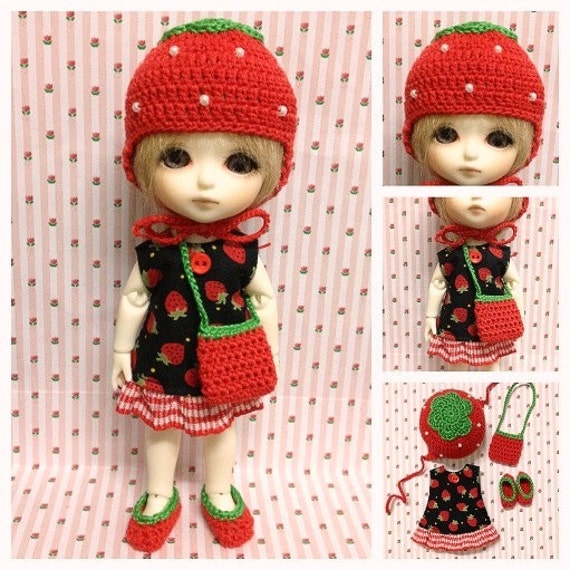 "Lati Yellow / Puki Fee Outfit : ""Strawberry Choco Set"" (Dress, Crochet hat, Bag and shoe)"
