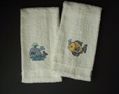 Cute Fish and Whale - Embroidered Bath Hand Towel Set of 2