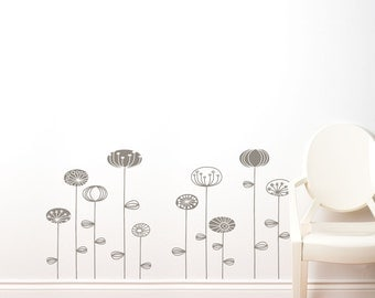Uppsala - Graphic growing flowers wall decal  - medium grey