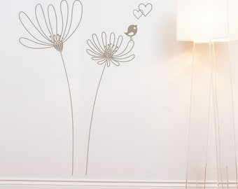 Shawinigan - Flowers with birds wall decal - warm grey