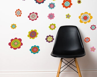 Rivadavia - Punchy color flowers wall decal - peel and stcik