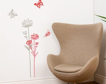 Neuchâtel - Mountain flower with butterflies - wall decal - grey and red