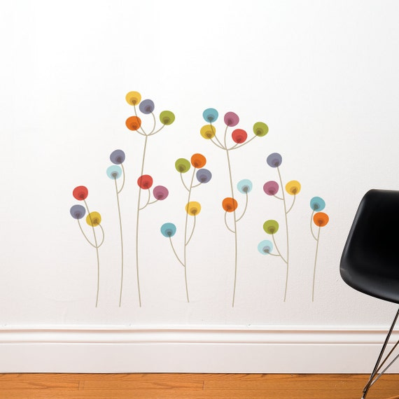 Xiangyang - Colorful dots flowers wall decal
