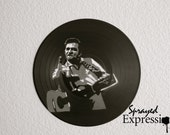Johnny Cash Flippin' the Bird Vinyl Record Painting