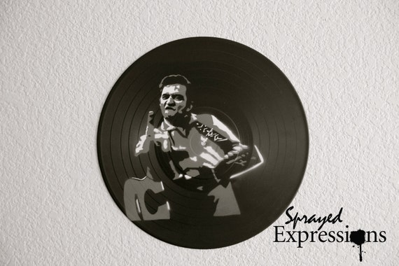 Johnny Cash Flippin' the Bird Vinyl Record Painting