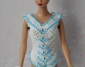 Barbie 2 Piece Beaded Handmade Crochet Bathing Suit And Tote Bag Set V315
