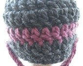 The Chin Strap Beanie - Charcoal with Fig Stripe