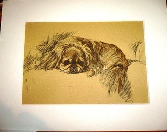 PEKINGESE Vintage mounted 1936 Lucy Dawson pekinese peke Nanki poo dog plate/print Unique Birthday Christmas Thanksgiving dog lover gift