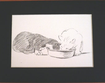 Vintage Mounted 1937 'Mac' Lucy Dawson Two brave little cats - cat/kitten plate/print Christmas, Birthday, Thanksgiving gift