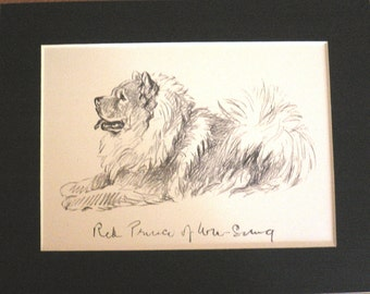 Vintage Mounted 1937 'Mac' Lucy Dawson Red Prince of Wu Sung sitting dog plate/print Unique Christmas Thanksgiving birthday present gift