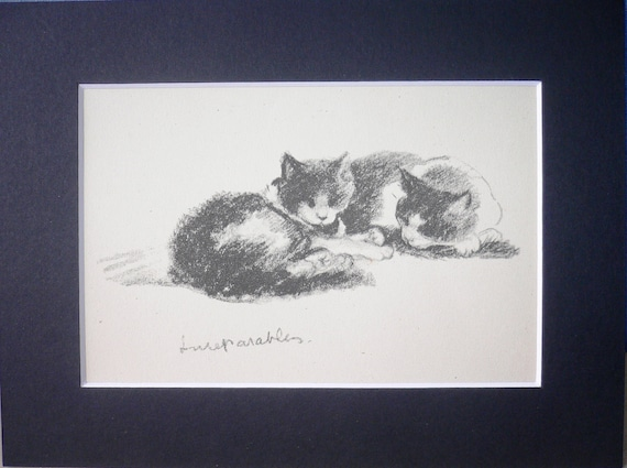 Vintage Mounted 1946 Lucy Dawson The inseparables cats/kittens cat kitten plate/print Unique  gift