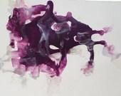 Original drawing, Abstract Art, Purple Acrylic