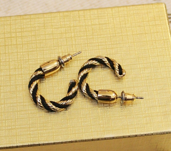 Vintage Gold and Black Earring Hoops
