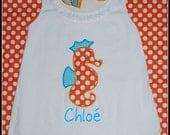 Toddler Dress w Seahorse applique / Turquoise / orange polka dot Monogram Personalized White summer Dress