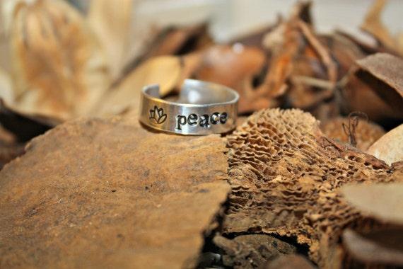Stamped Aluminum Ring -PEACE-