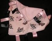 taggy blanket pink zebra butterflies