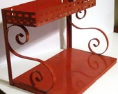 Retro Red Metal Shelf Wall Table 2 Tier Cutouts Tin Shelf Refinish