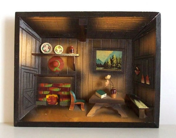 Kitchen Diorama Made Of Cereal Box: Vintage 3D Wood Diorama Shadow Box Cabin Rustic Japan Ucagco