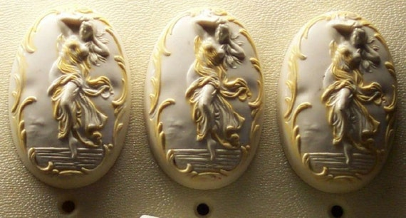 Vintage 1Pastel Ivory Triple Wall Switchplate & Cover Risque Semi Nude Large Sliding Switches