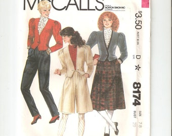 Vintage Sewing Pattern McCall's 8174 for Jacket, Skirt, Culottes and Pants, Size 7-8, 1980s