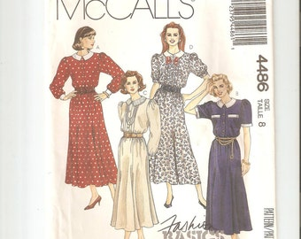 Vintage UNCUT McCall's Sewing Pattern 4486 for Dress, Sz 8, 1980s