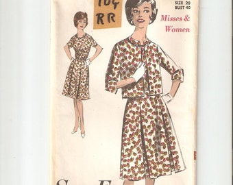 Vintage UNCUT Advance Sewing Pattern 2951 for Dress and Jacket, Sz Women 20, 1960s