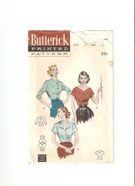 Vintage Butterick Sewing Pattern 6586 for Blouse, Size 12, 1950s