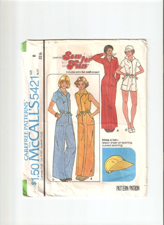 Vintage Sewing Pattern McCall's 5421 for Jumpsuit, Size 8, 1970s