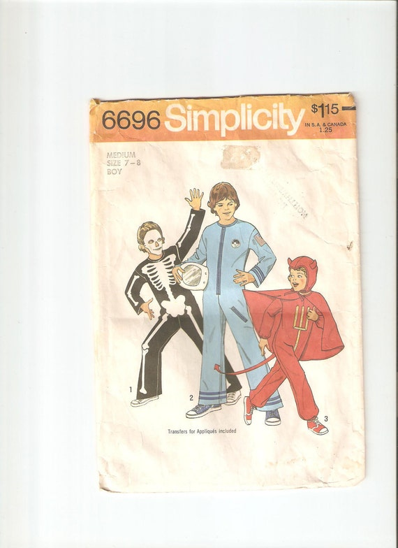 Vintage Simplicity Sewing Pattern 6696 for Childrens Costumes, Sz 7-8, 1970s