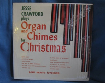 """RARE, Vintage, Jesse Crawford  - """"Organ and Chimes For Christmas"""", Vinyl LP, Record Album, Traditional Holiday Music"""