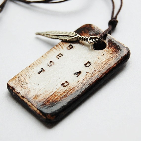 BEST DAD Necklace in Brown Rustic Colour With Hand Stamped Pendant - Adjustable